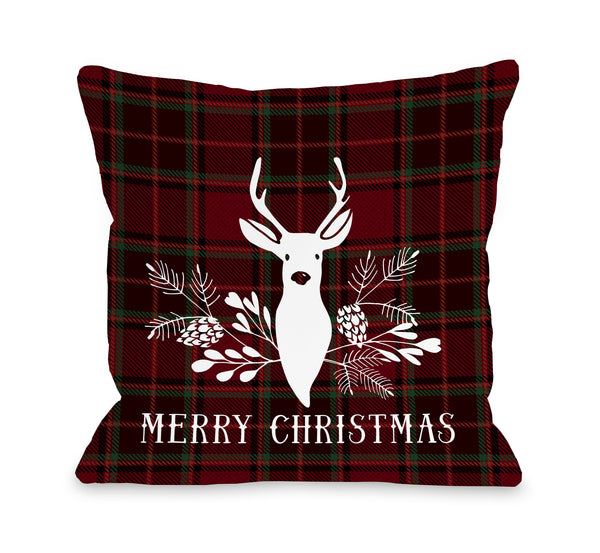 Plaid Woodland Deer Throw Pillow by OBC
