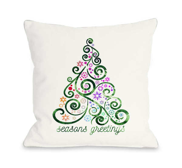Seasons Greetings Whimsical Throw Pillow by OBC