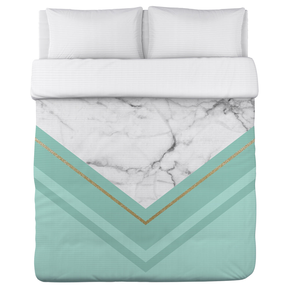 Haven Marble - Mint Lightweight Duvet Cover by OBC