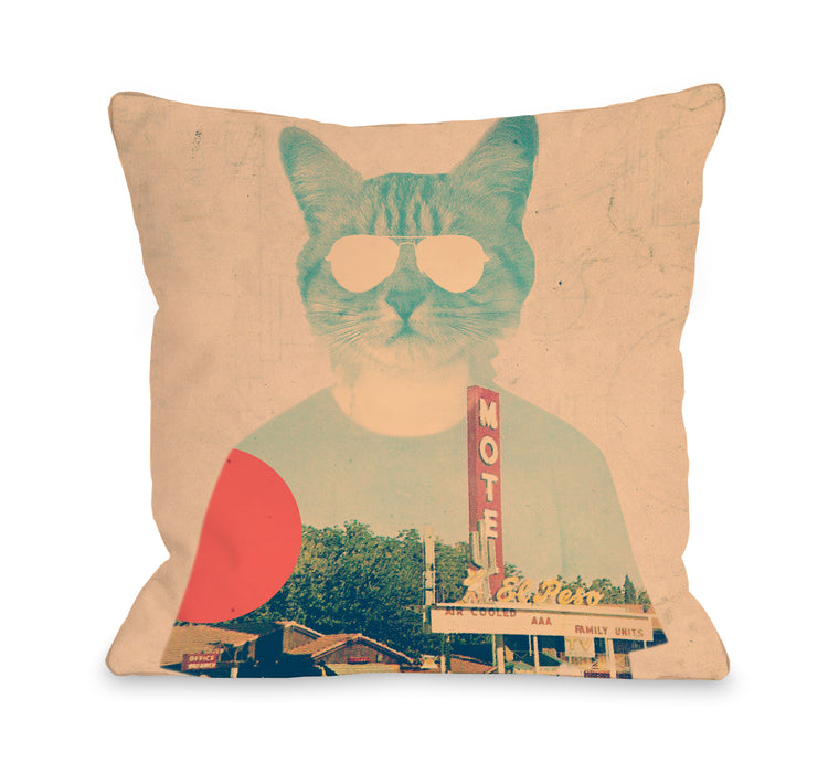 Cool Cat - Multi Throw Pillow by Ali Gulec