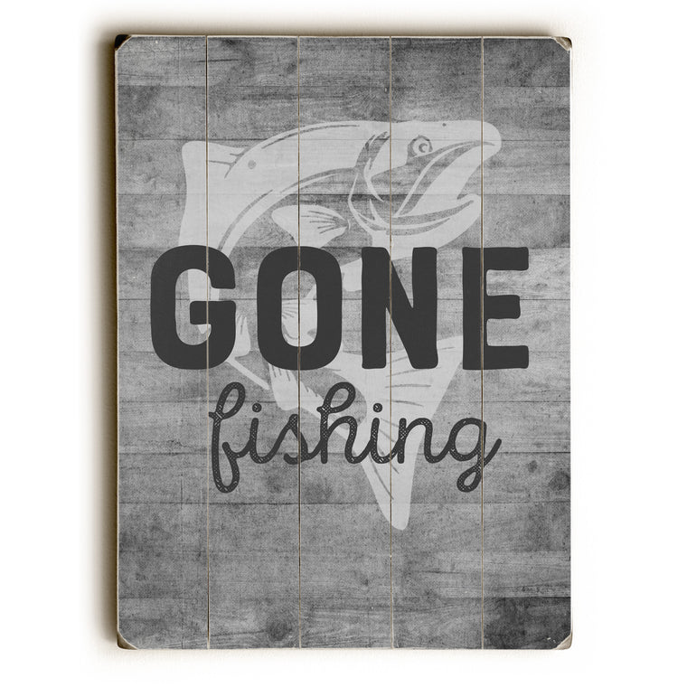 Gone Fishing - Gray Wood Wall Decor by Cheryl Overton