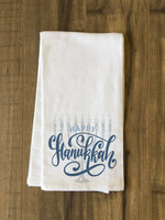 Happy Hanukkah Lettered - Blue Tea Towel by OBC