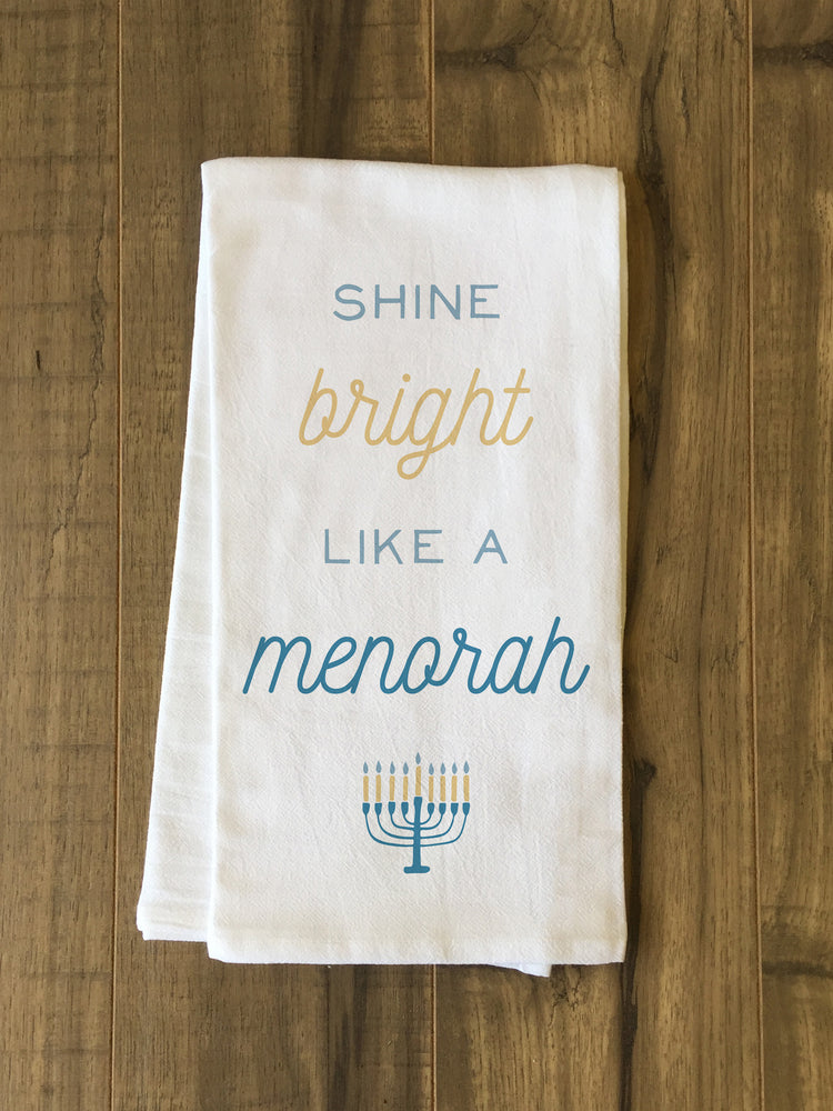 Shine Bright Menorah - Multi Tea Towel by OBC