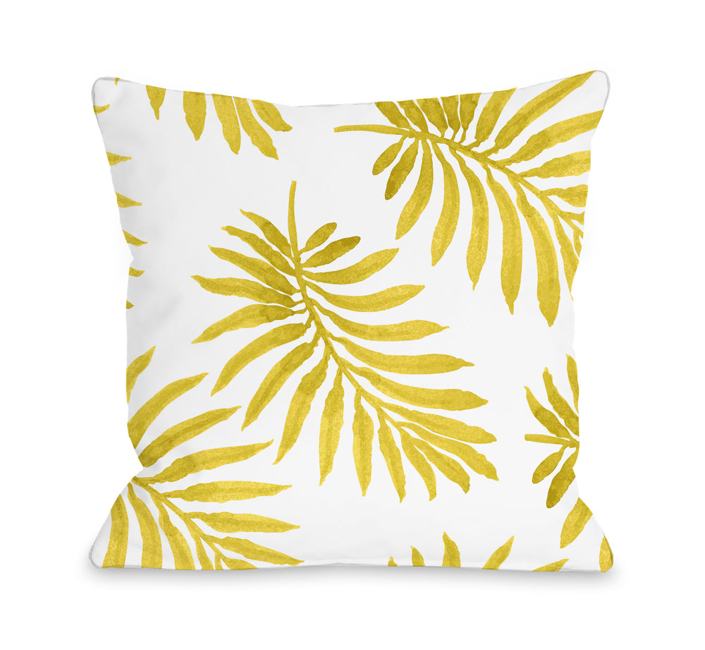 Vibrant Palm Lemon Outdoor Throw Pillow
