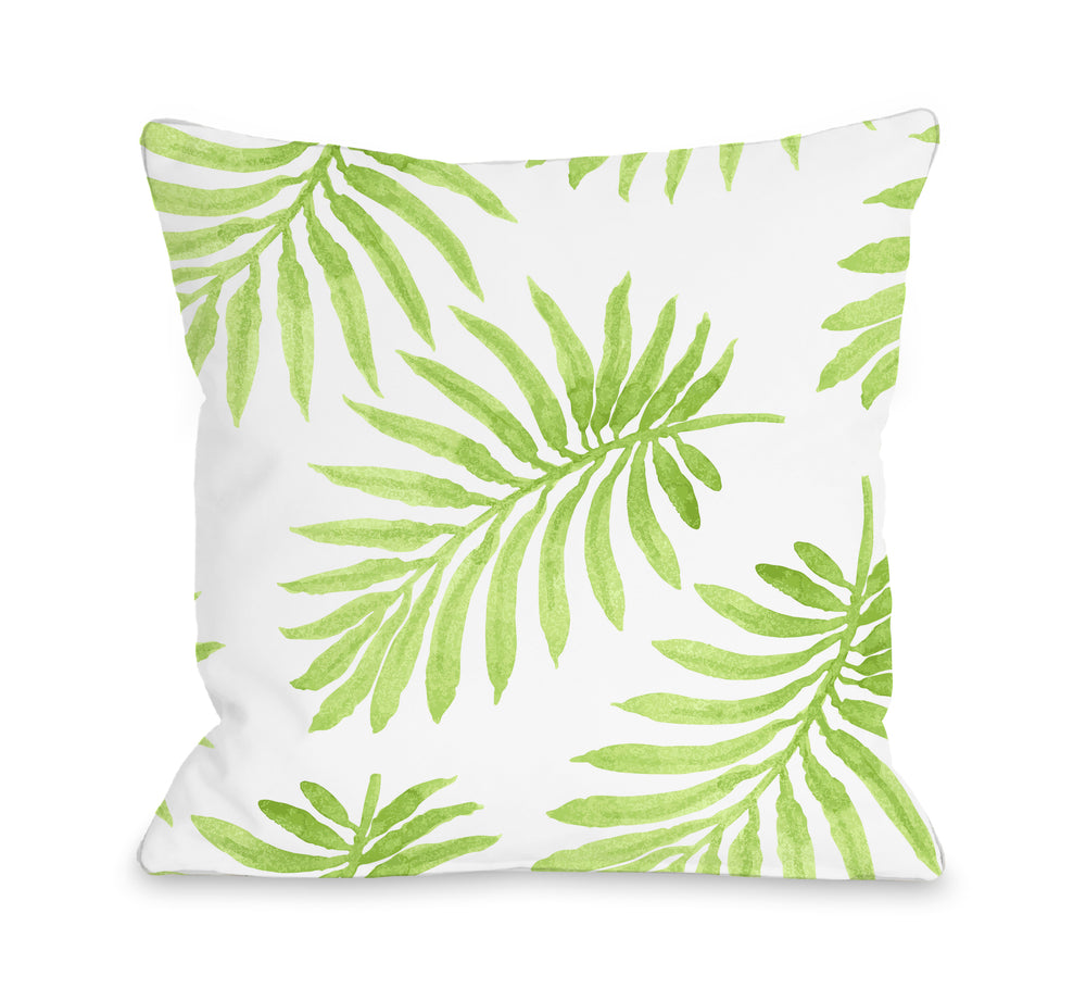 Vibrant Palm Lime Outdoor Throw Pillow