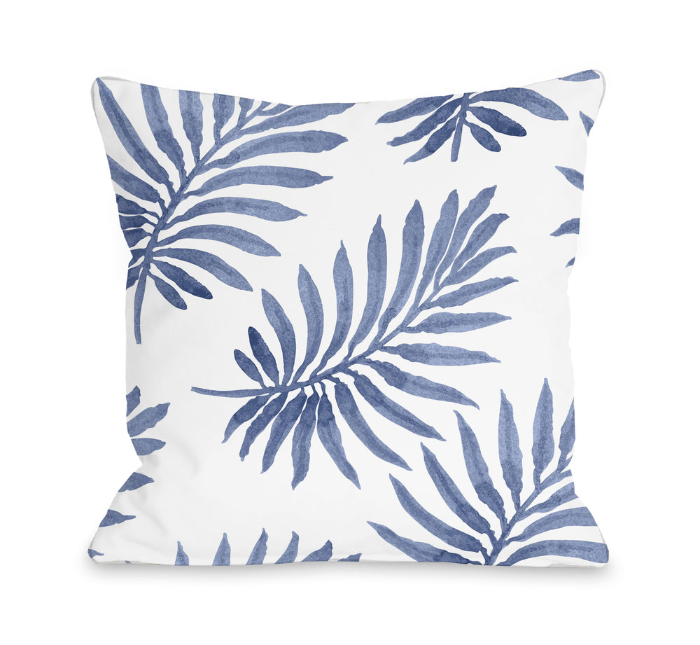 Vibrant Palm Navy Outdoor Throw Pillow
