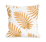 Vibrant Palm Tangerine Outdoor Throw Pillow