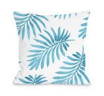 Vibrant Palm Turq Outdoor Throw Pillow