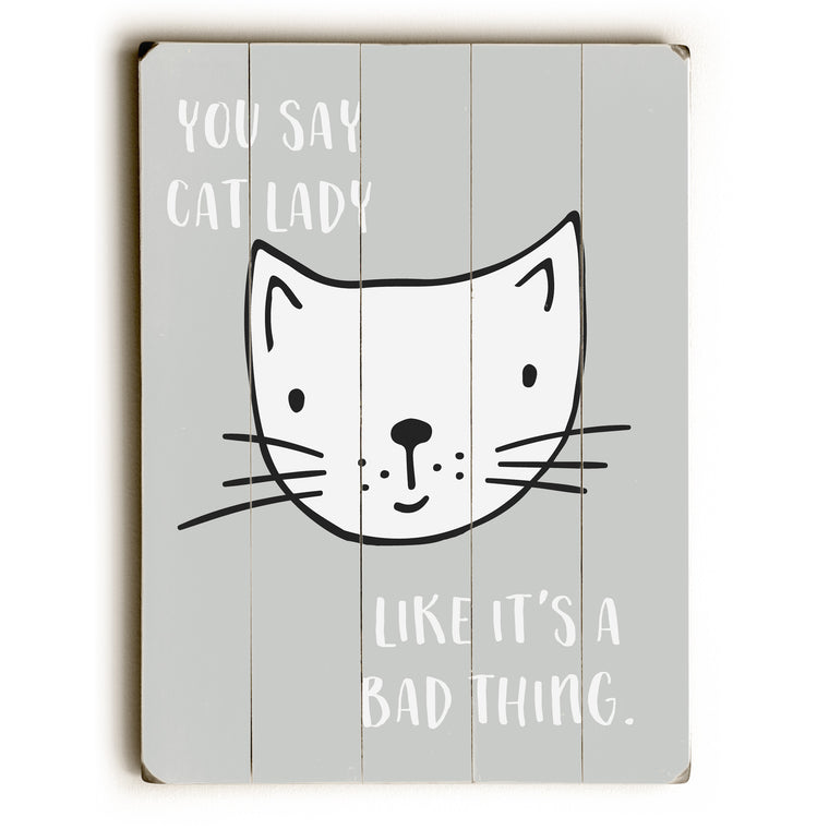 Cat Lady - Gray Wood Wall Decor by Cheryl Overton