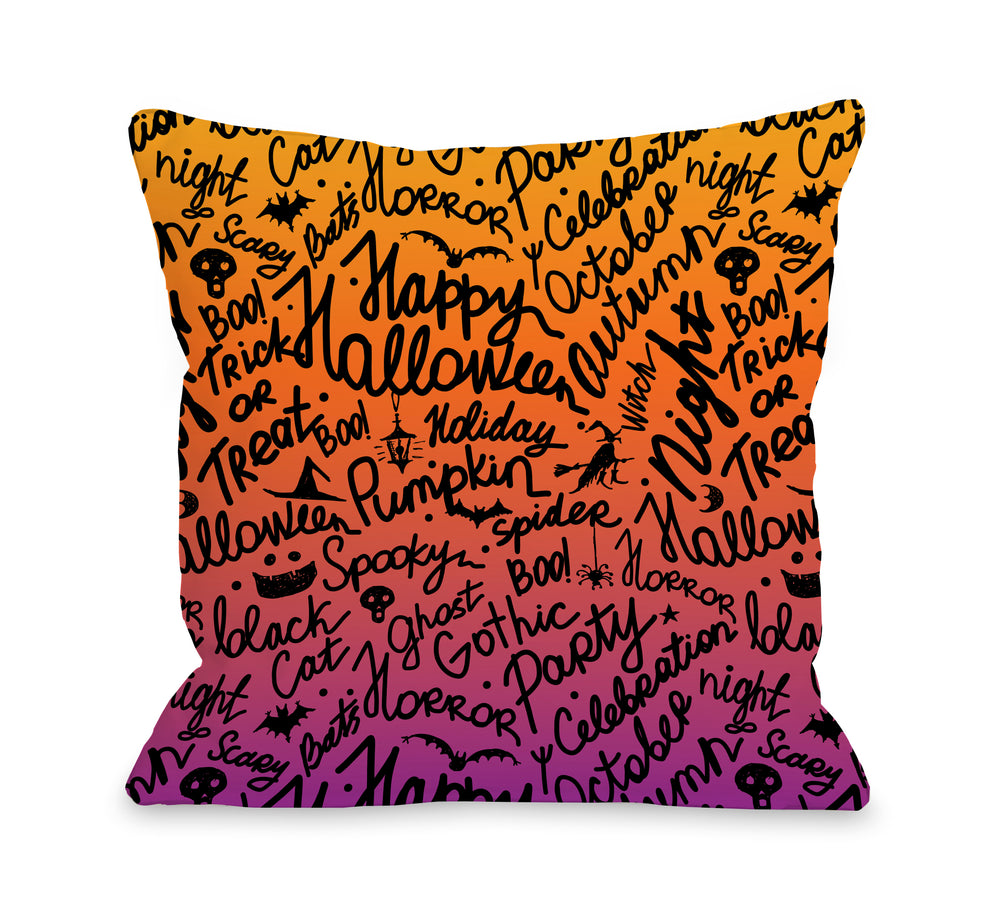 Halloween Scribbles - Multi Pillow by OBC