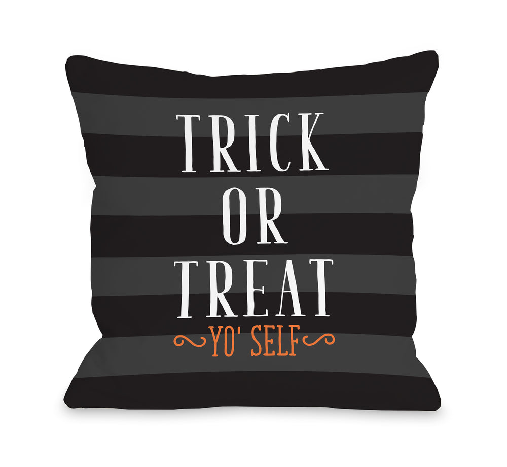 Trick Or Treat Yo Self Stripe - Black Pillow by OBC