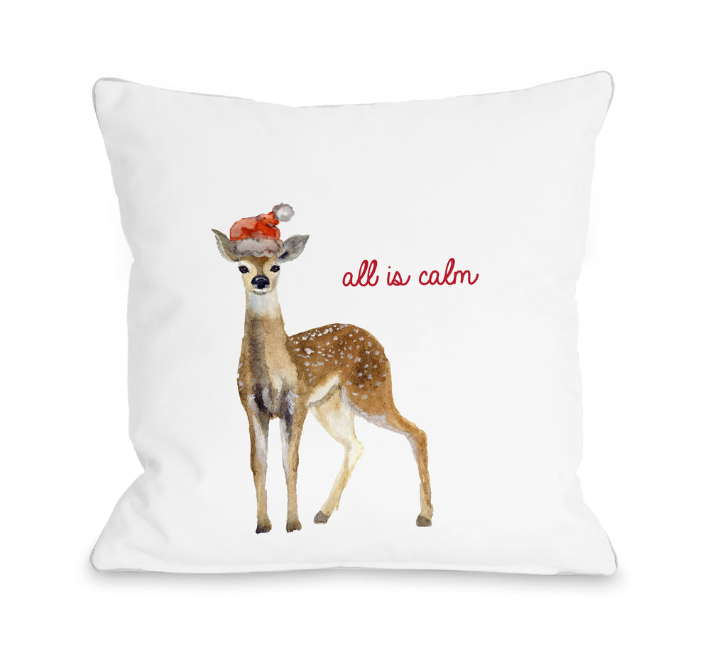 All Is Calm Deer - White Throw Pillow by OBC