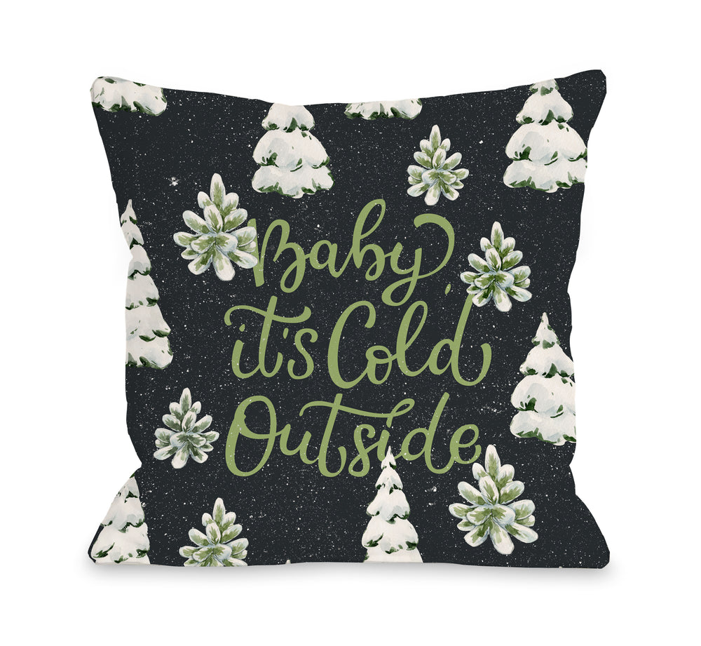Baby Its Cold Outside Forest - Gray Throw Pillow by OBC