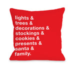 Christmas Words - Red Throw Pillow by OBC