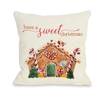 Have A Sweet Christmas - Tan Throw Pillow by OBC