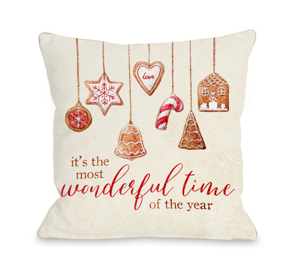 Most Wonderful Time Cookies - Tan Throw Pillow by OBC