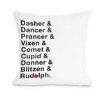 Reindeer Names - White Throw Pillow by OBC