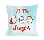 Tis The Season Penguins - Blue Throw Pillow by OBC