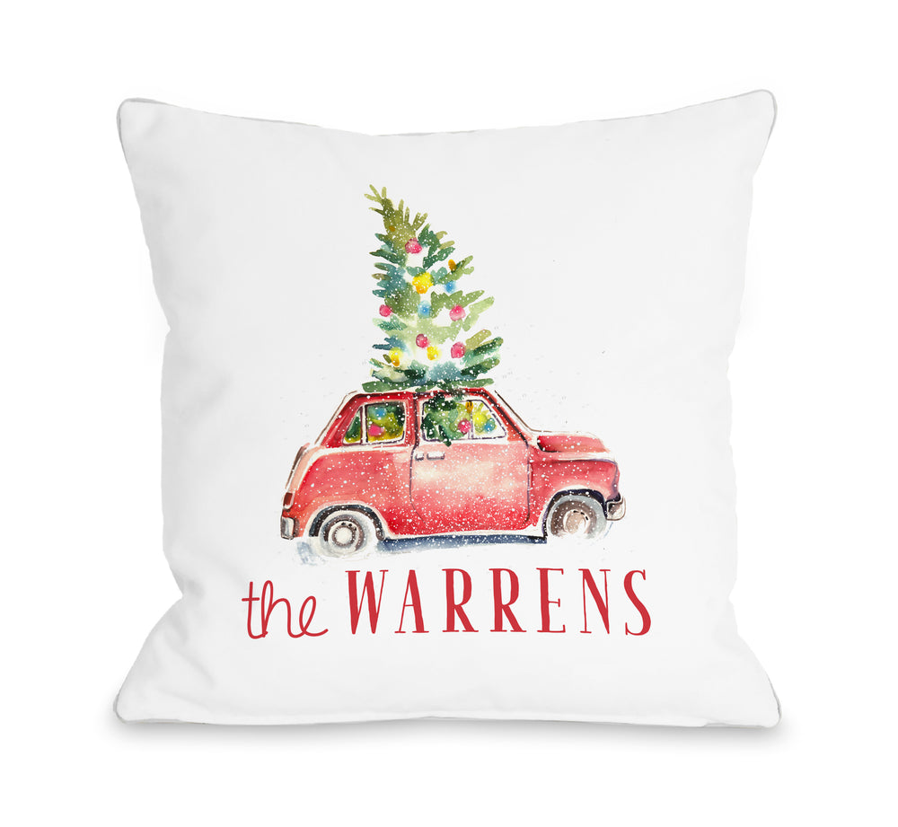 Christmas Car Personalized Throw Pillow by OBC