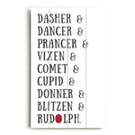 Reindeer Names - White Planked Wood Wall Decor by OBC
