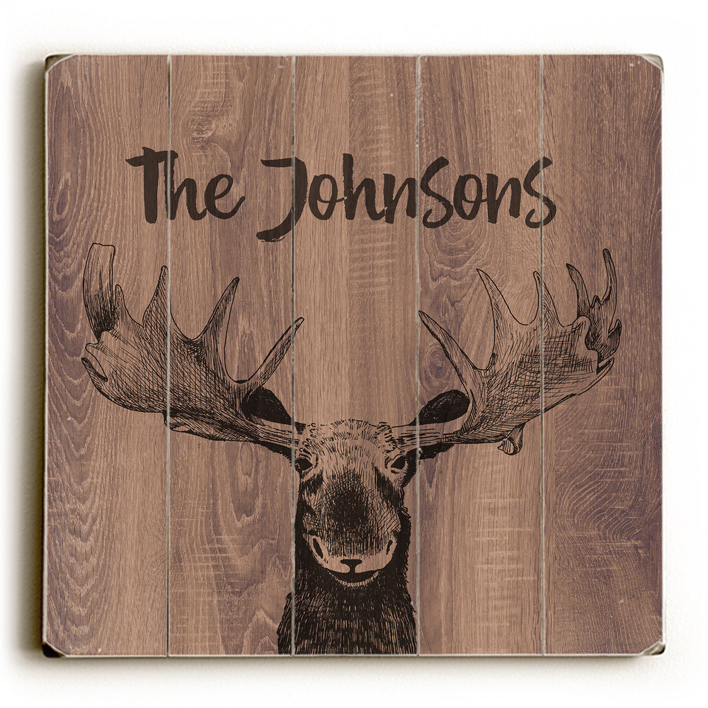 Moose Wood Personalized - Brown  Planked Wood Wall Decor by OBC
