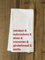Christmas Characters - Red Kitchen Towel by OBC