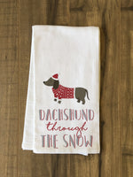 Dashchund Through The Snow - Red Kitchen Towel by OBC