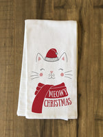 Meowy Christmas - Red Kitchen Towel by OBC