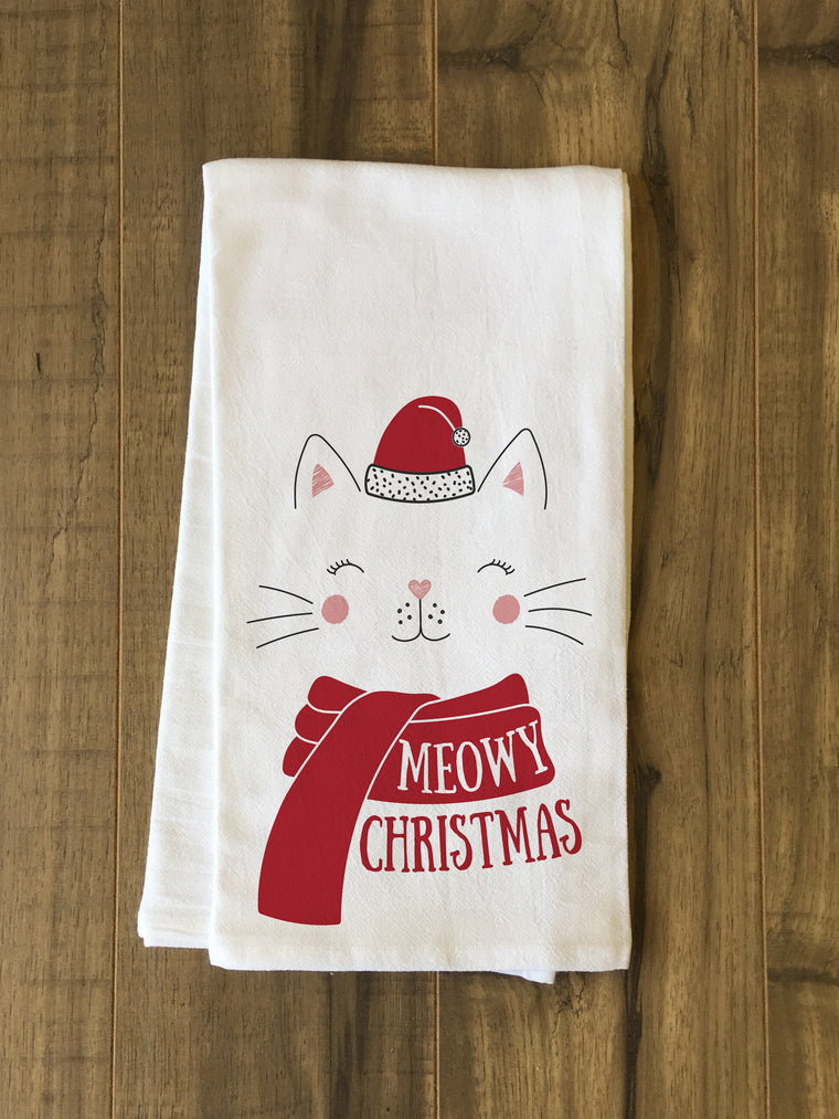 Meowy Christmas Kitchen Towel by OBC