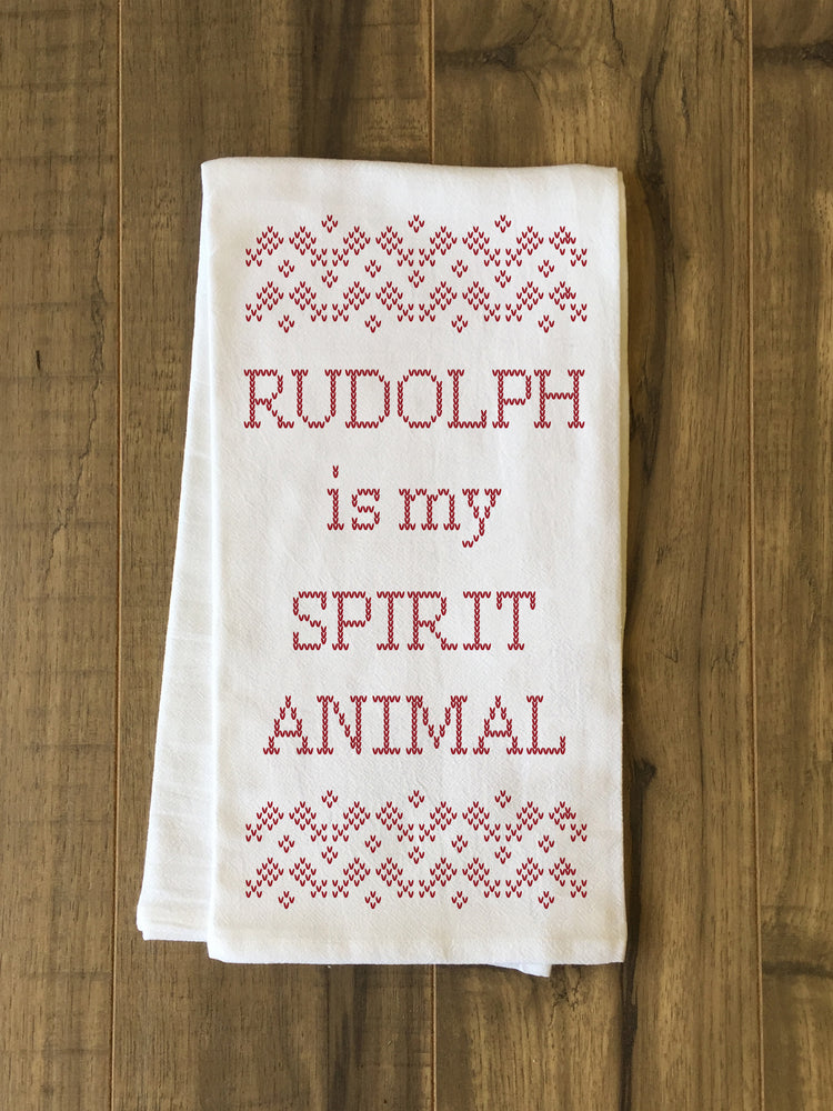 Rudolph Is My Spirit Animal - Red Kitchen Towel by OBC