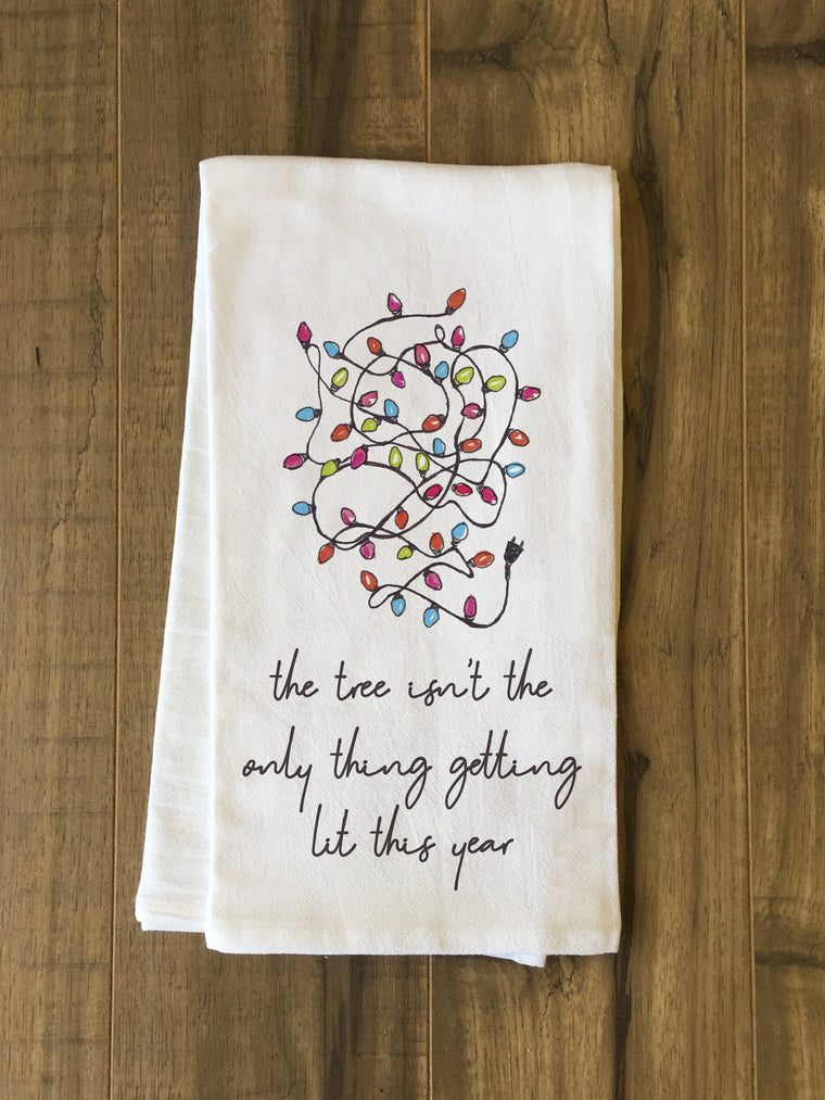 Tree Getting Lit Kitchen Towel by OBC