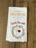 White Christmas Red Wine Kitchen Towel by OBC