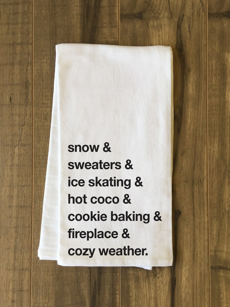 Winter Words - Black Kitchen Towel by OBC