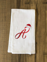 Monogram Santa Hat A  - Red Kitchen Towel by OBC