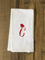 Monogram Santa Hat C  - Red Kitchen Towel by OBC