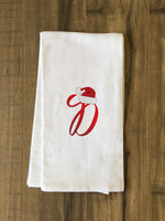 Monogram Santa Hat D  - Red Kitchen Towel by OBC