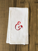 Monogram Santa Hat E  - Red Kitchen Towel by OBC