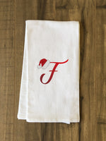 Monogram Santa Hat F  - Red Kitchen Towel by OBC