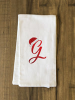 Monogram Santa Hat G  - Red Kitchen Towel by OBC