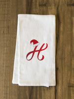 Monogram Santa Hat H  - Red Kitchen Towel by OBC