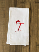 Monogram Santa Hat I  - Red Kitchen Towel by OBC