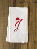 Monogram Santa Hat J  - Red Kitchen Towel by OBC