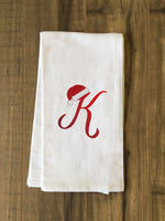Monogram Santa Hat K  - Red Kitchen Towel by OBC