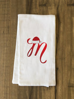 Monogram Santa Hat M  - Red Kitchen Towel by OBC