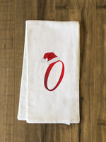 Monogram Santa Hat O  - Red Kitchen Towel by OBC