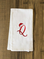 Monogram Santa Hat Q  - Red Kitchen Towel by OBC