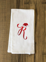 Monogram Santa Hat R  - Red Kitchen Towel by OBC