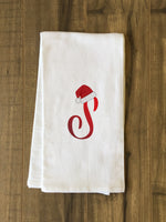Monogram Santa Hat S  - Red Kitchen Towel by OBC