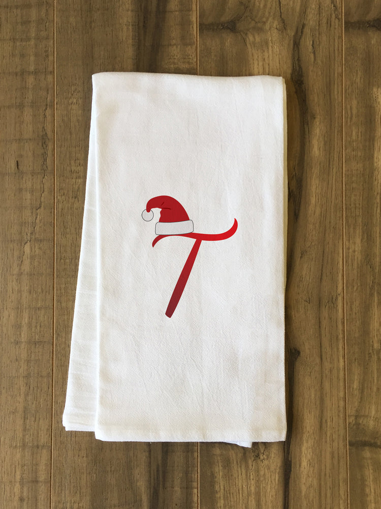 Monogram Santa Hat T  - Red Kitchen Towel by OBC