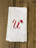 Monogram Santa Hat U  - Red Kitchen Towel by OBC